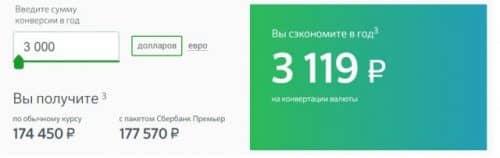 Пакет услуг Премьер от Сбербанка валюта