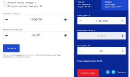 ВТБ кредит под залог недвижимости калькулятор