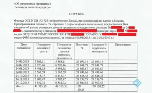 ВТБ справка об уплаченных процентах образец