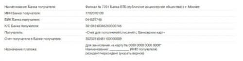 Банковские реквизиты ВТБ24
